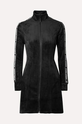 Opening Ceremony Intarsia-trimmed Velour Mini Dress - Black