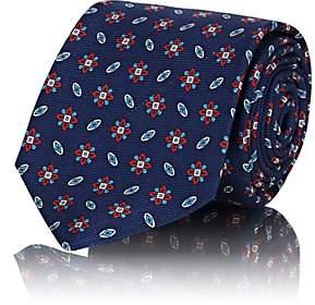 Kiton Men's Floral-Medallion-Motif Silk Faille Necktie - Navy