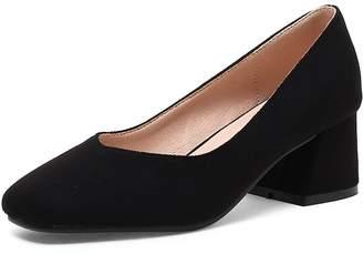822d755f1ce KingRover Women s Trendy Square Toe Suede Commuter Shoes Low Cut High Block  Heel Pumps