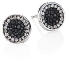 Black Diamond Pleve Perfect Round Button Stud Earrings