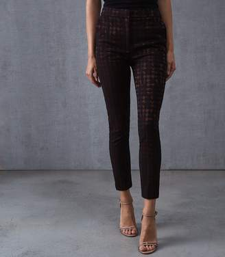 Reiss LAURA HOUNDSTOOTH CHECK TROUSERS Black/burgundy