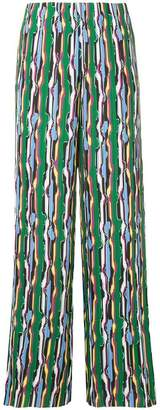SOLACE London patterned wide leg trousers