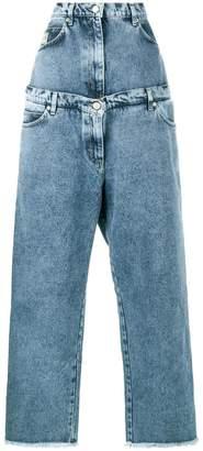 Natasha Zinko layered acid blue high waisted wide leg jeans