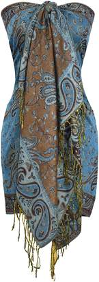 Couture Peach Exclusive Double Layer Reversible Paisley Pashmina Shawl Scarf