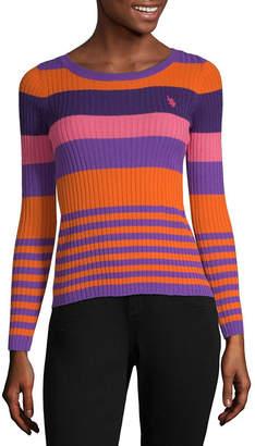 U.S. Polo Assn. Womens Crew Neck Long Sleeve Striped Pullover Sweater-Juniors