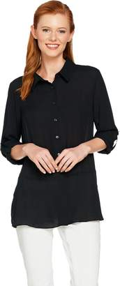 Joan Rivers Classics Collection Joan Rivers Silky Blouse with Peplum Detail