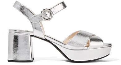 Prada - Metallic Leather Platform Sandals - Silver