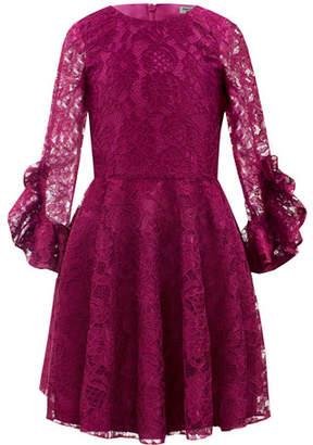 David Charles Lace Ruffle-Sleeve Fit-&-Flare Dress, Size 10-16
