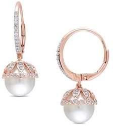 Sonatina Freshwater Cultured Pearl, 0.5 TCW Diamond & 14K Rose Gold Vintage Earrings