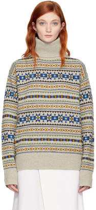 Joseph Beige Fair Isle Double Turtleneck