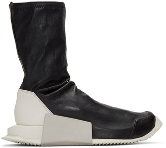Rick Owens Black adidas Originals Edition Level Sock Mid-Calf Sneakers $1,150 thestylecure.com