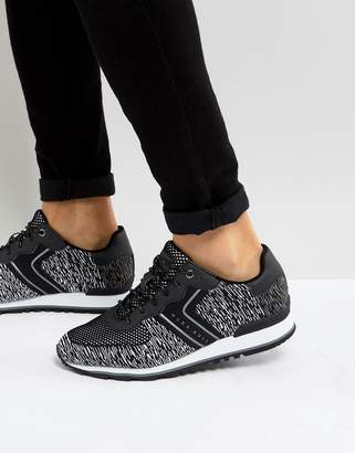 BOSS Parkour Knitted Running Trainers in Black