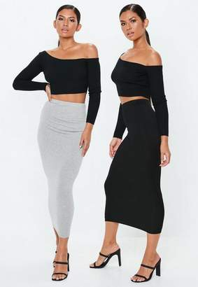 Missguided Gray and Black 2 Pack Jersey Maxi Skirts
