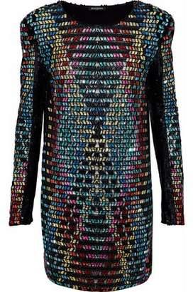Balmain Sequined Embellished Tulle Mini Dress