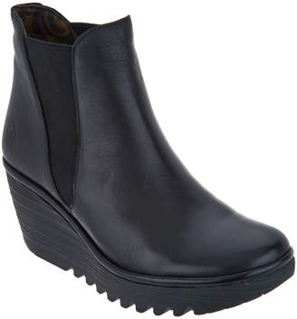 Fly London Leather Wedge Ankle Boots w/ Goring - Yoss