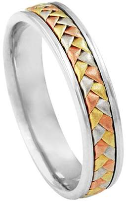 American Set Co. Men's Tri-color 18k White Yellow Rose Gold Woven 5.5mm Comfort Fit Wedding Band Ring size 7.5