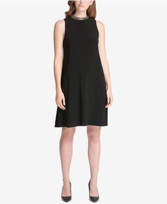 Tommy Hilfiger Beaded Neckline A-Line Dress