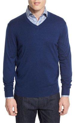 Neiman Marcus Cashmere-Silk V-Neck Sweater, Navy $195 thestylecure.com