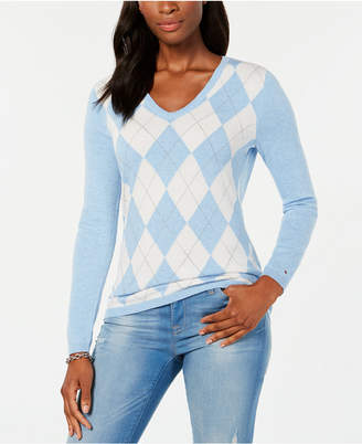Tommy Hilfiger Cotton Argyle-Front Sweater