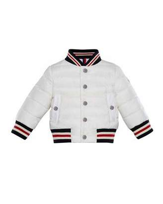 Moncler Striped-Trim Quilted Bomber Jacket, Size 12M-3
