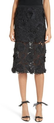 Women's Milly 3D Floral Embroidery Midi Skirt $395 thestylecure.com