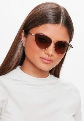 Missguided Brown Small Cat Eye Sunglasses