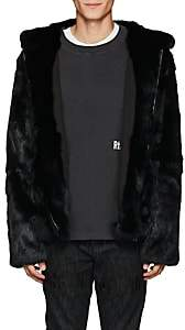 RtA Men's Rabbit Fur Hooded Jacket-Black