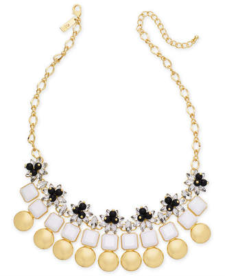 "INC International Concepts I.n.c. Gold-Tone Multi-Stone & Circle Statement Necklace, 18"" + 3"" extender, Created for Macy's"