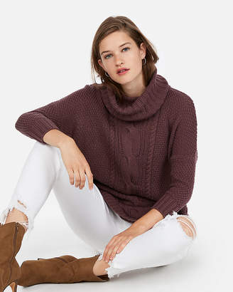 Express Petite Cowl Neck Cable Knit Circle Hem Sweater