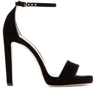 Jimmy Choo Misty 120 Velvet Sandals - Womens - Black