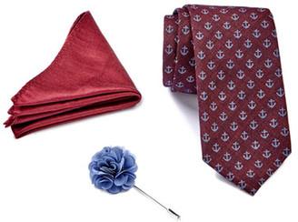 Ben Sherman Anchor Tie, Solid Pocket Square, & Floral Lapel Pin Box Set $75 thestylecure.com