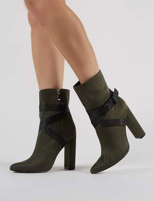 Public Desire Drift Sports Luxe Ankle Boots in Khaki