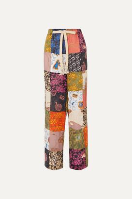 Loewe Paula's Ibiza Patchwork Printed Linen-blend Wide-leg Pants - Burgundy