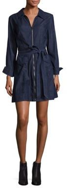 7 For All Mankind 7 For All Mankind Zip-Front Belted Denim Mini Dress