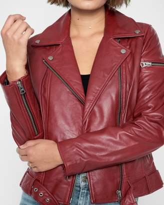 7 For All Mankind Leather Asymmetrical Zip Belted Moto Jacket in Rustic Wine