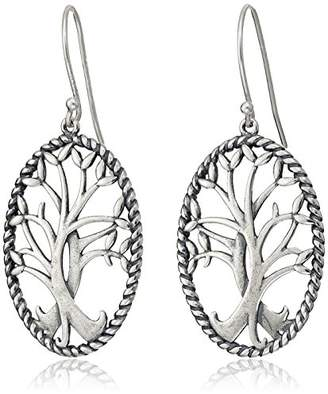 Celtic Sterling Silver Oxidized Tree of Life Oval Dangle Earrings