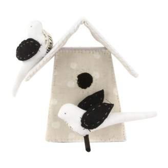 Tamar Mogendorff Polka dot Nesting Box with 2 birds - Black and White
