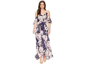 Vince Camuto Printed Chiffon Cold Shoulder Maxi Dress with Ruffled Skirt