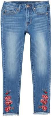 Tucker + Tate Embroidered Fray Hem Skinny Jeans