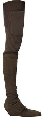Rick Owens Rib-Paneled Nubuck Thigh Boots