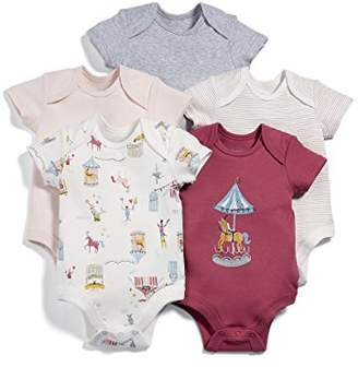 Mamas and Papas Baby Girls' Pack of 5 Circus Short Sleeved Bodysuit,3-6 Months Pack of 5