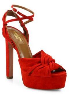 Aquazzura Movie Star Suede Platform Sandals $850 thestylecure.com