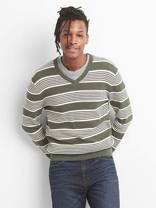 Gap Lightweight Stripe V-Neck Pullover Sweater