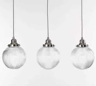 Pottery Barn PB Classic 3-Light Pendant with Ribbed Glass Globe Shade
