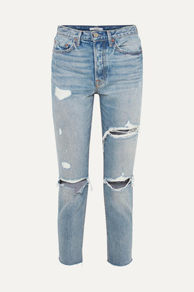 GRLFRND Karolina Distressed High-rise Skinny Jeans