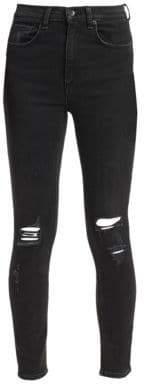 Rag & Bone High-Rise Distressed Ankle Skinny Jeans