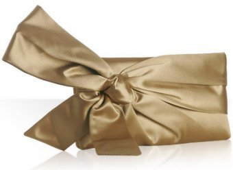 Valentino gold satin bow detail clutch