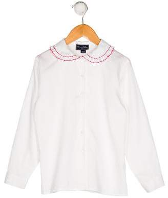 Oscar de la Renta Girls' Button-Up Long Sleeve Top