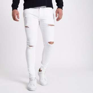 River Island White ripped Ollie super skinny jeans