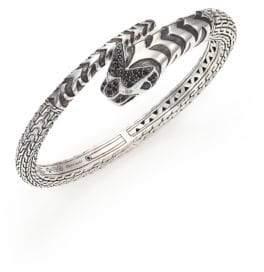 John Hardy Legends Macan Black Sapphire Lava, Swiss Blue Topaz& Sterling Silver Cuff Bracelet